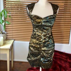 Nicole Miller ruched Leopard print cocktail dress
